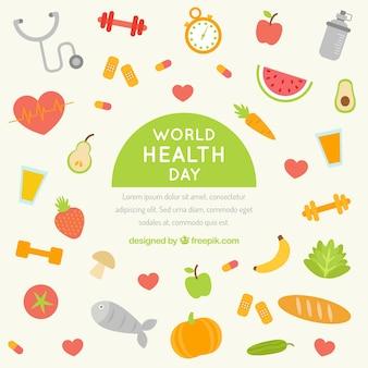 Fondo de hábitos y comida saludable