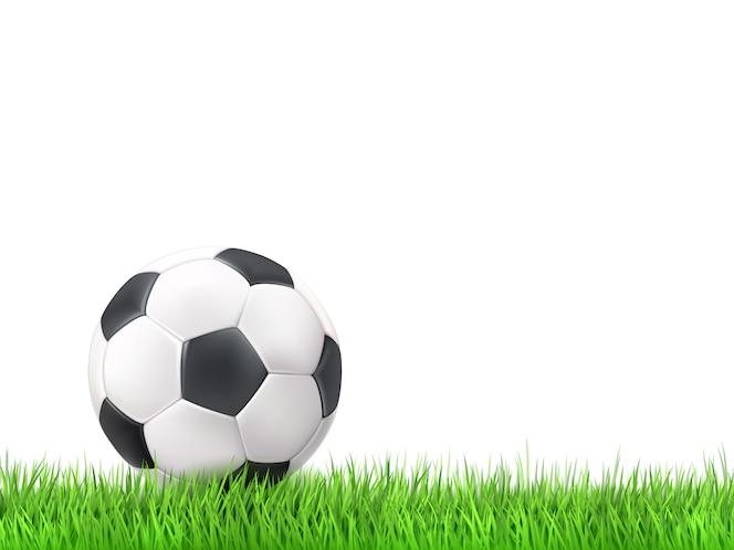 Deportes Pelotas Fondo Grunge: Pelota De Fútbol En Un Fondo Verde Brillante