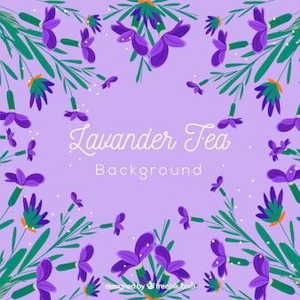 Fondo de hojas de té con aroma de lavanda