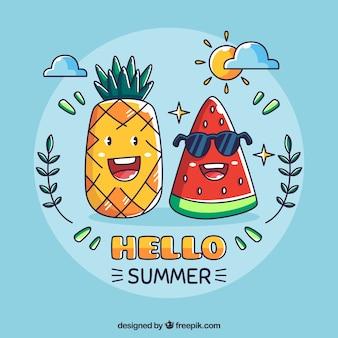Fondo de hola verano con caricatura de piña y sandía