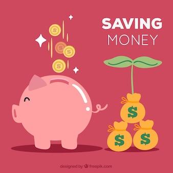 Fondo de hucha de cerdito y ahorros creciendo