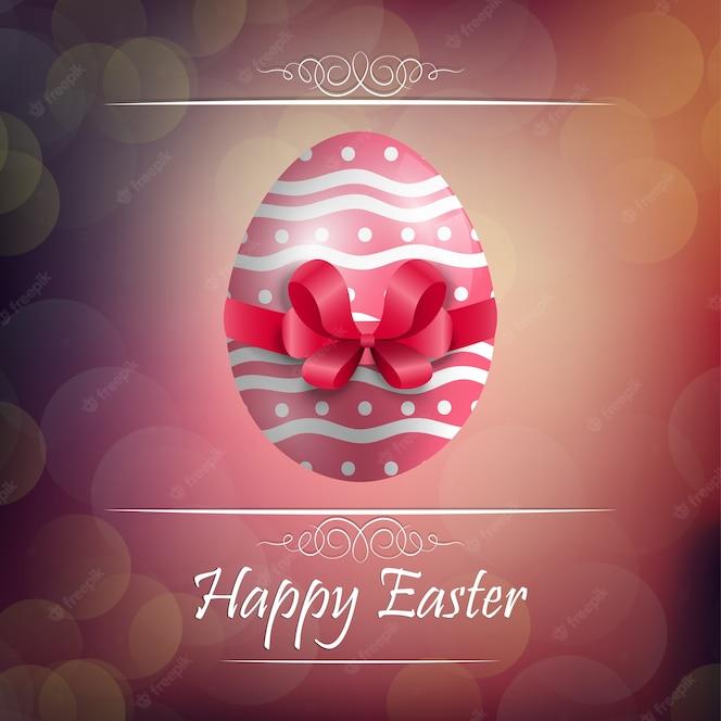 Fondo de huevo de pascua con cinta roja
