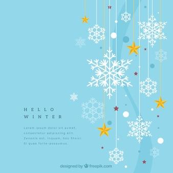 Fondo de invierno con copos de nieve y estrellas