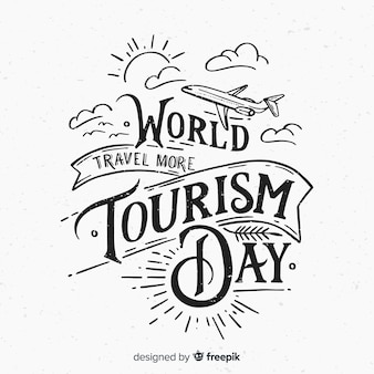 Fondo de lettering para el día mundial del turismo