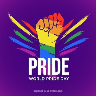 Fondo de lgtb pride con puño colorido