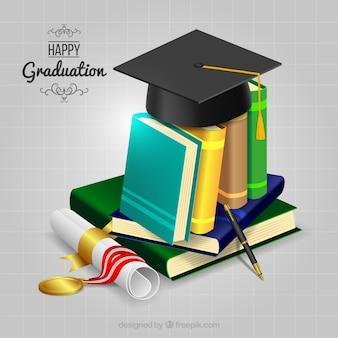 Fondo de libros con diploma y birrete
