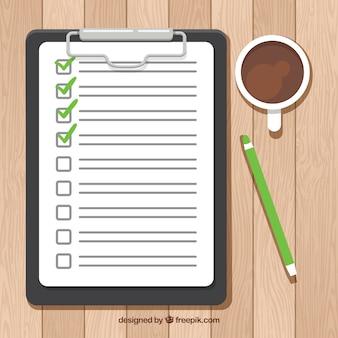 Fondo de lista de elementos con café y lápiz