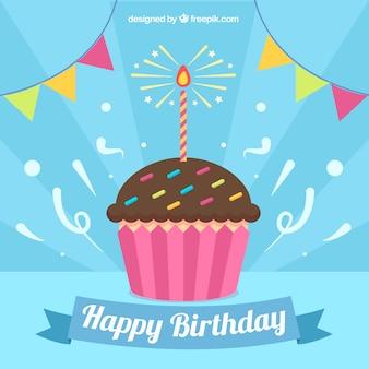 Fondo de magdalena con vela de cumpleaños