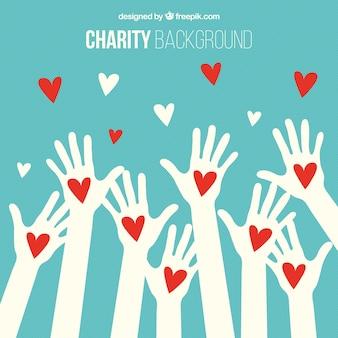 Fondo de manos blancas con corazones rojos