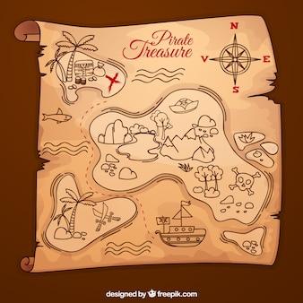 Fondo de mapa del tesoro dibujado a mano