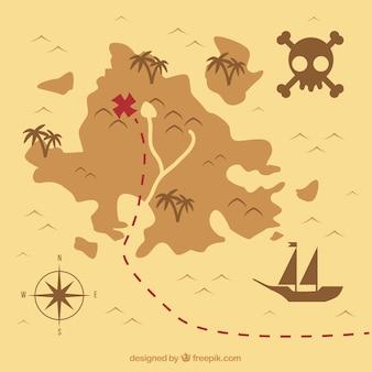 Fondo de mapa del tesoro vintage