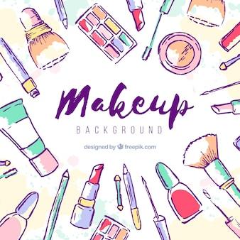 Fondo de maquillaje con cosméticos dibujados a mano