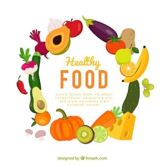 Fondo de marco circular de comida
