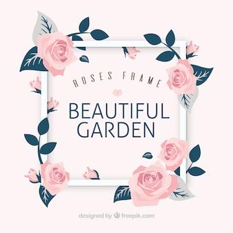 Fondo de marco con bonitas rosas decorativas