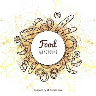 Fondo de marco de comida dibujado a mano
