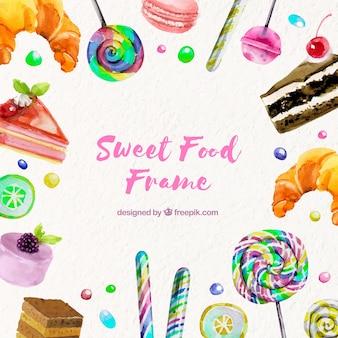Fondo de marco de comida dulce