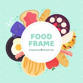Fondo de marco de comida rica