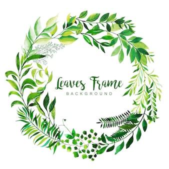 Fondo de marco de hojas de acuarela