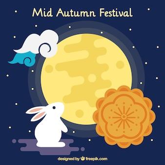 Fondo de mediados de otoño con pastel de luna