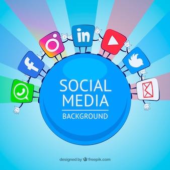 Fondo de medios de comunicación social con iconos diferentes
