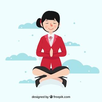Fondo de meditación con mujer