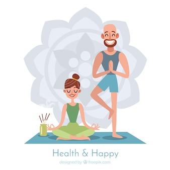 Fondo de meditación con pareja