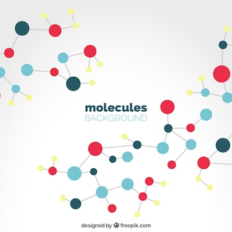 Fondo de moléculas de colores en diseño plano