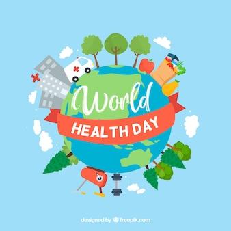 Fondo de mundo colorido del día de la salud