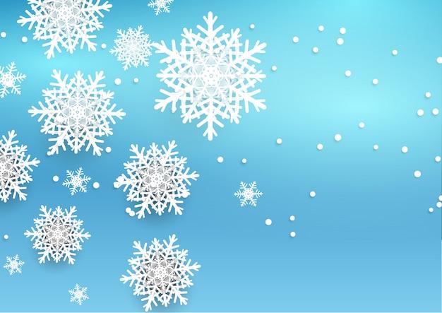 Fondo de navidad con copos de nieve de estilo 3d