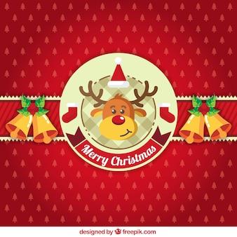 Fondo de navidad rojo con adornos y un reno