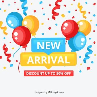 Fondo de nueva llegada con globos y confetti
