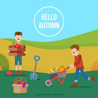 Fondo de otoño con granjeros