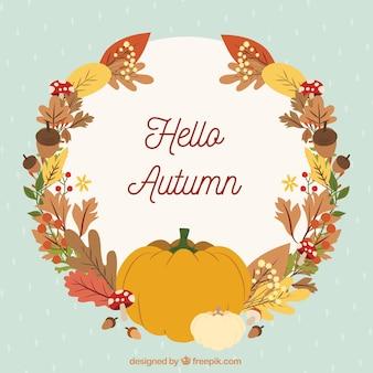 Fondo de otoño con hojas y calabazas