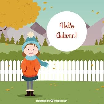 Fondo de otoño con linda chica