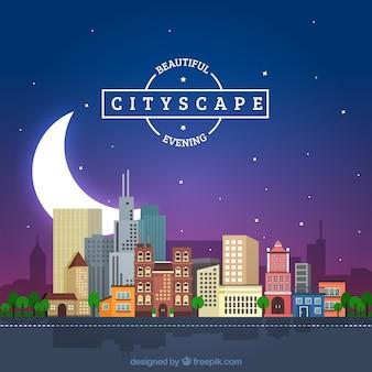 Fondo de paisaje de ciudad nocturno con una gran luna