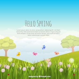Fondo de paisaje de primavera