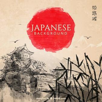 Fondo de paisaje japonés dibujado a mano