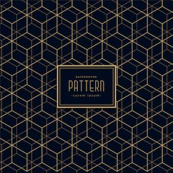 Fondo de patrón abstracto línea hexagonal oscuro