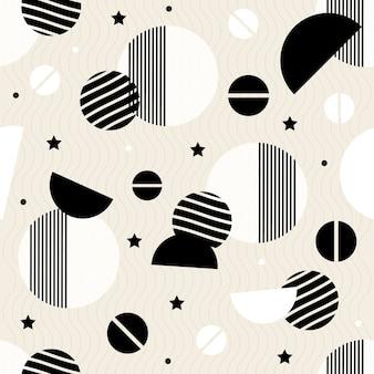 Fondo de patrón blanco y negro sin costura de geométrica
