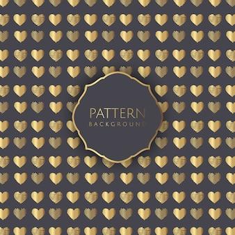 Fondo de patrón de corazones de oro