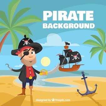 Fondo de personaje de pirata en la playa