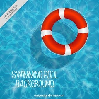 Fondo de piscina con flotador
