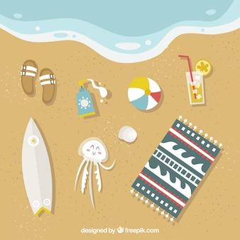 Fondo de playa con elementos de verano