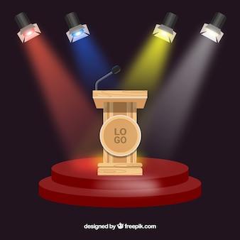 Fondo de podio de escenario con iluminación
