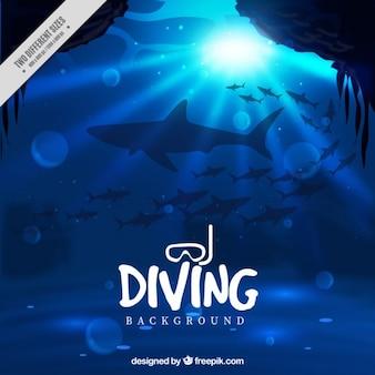 Fondo de profundidad marina con tiburones