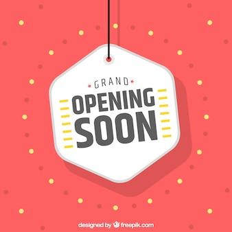 Fondo de próxima apertura con etiqueta