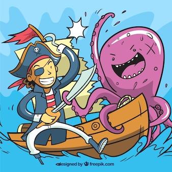 Fondo de pulpo y pirata en el barco
