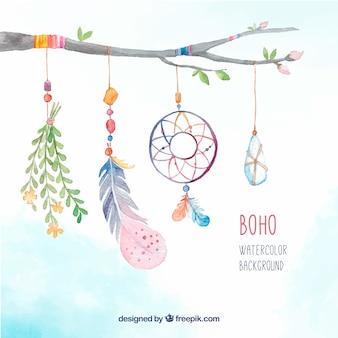 Fondo de rama con elementos decorativos boho de acuarela