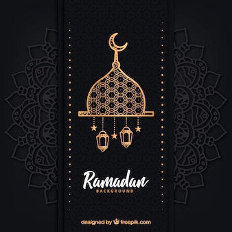 Fondo de ramadán con lámparas diferentes