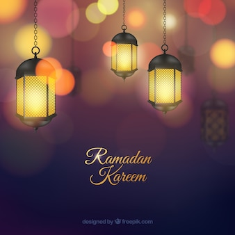Fondo de ramadán con lámparas realistas